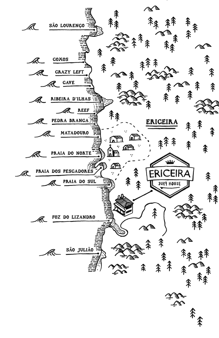 Map of the best places to surf in Ericeira, Portugal