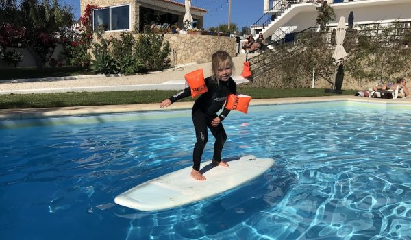 Family surfing Portugal